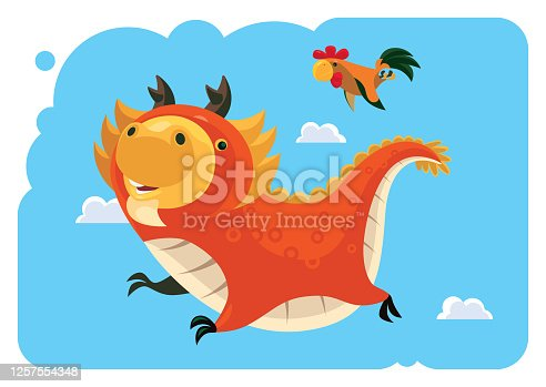 istock funny dragon flying with chicken 1257554348