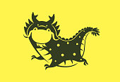 vector illustration of funny dragon symbol