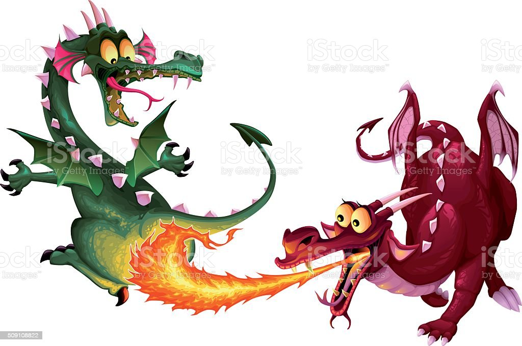 Funny Dragons Are Playing With Fire Stock Illustration