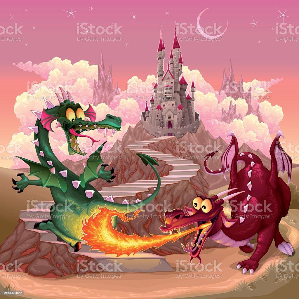 面白いドラゴンのファンタジーの風景城 おとぎ話のベクターアート素材