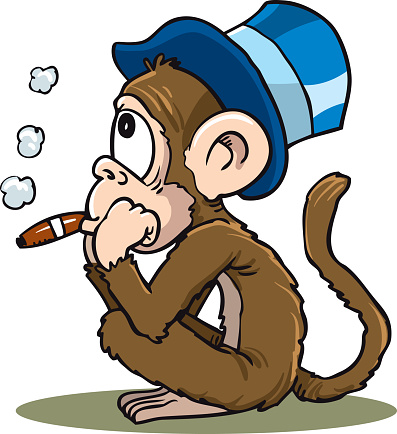 Funny drawing of a monkey