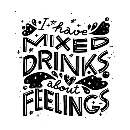 Funny drinking quote. Black and white