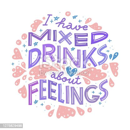 istock Funny drinking quote. Pastel colors, round shape 1275829498