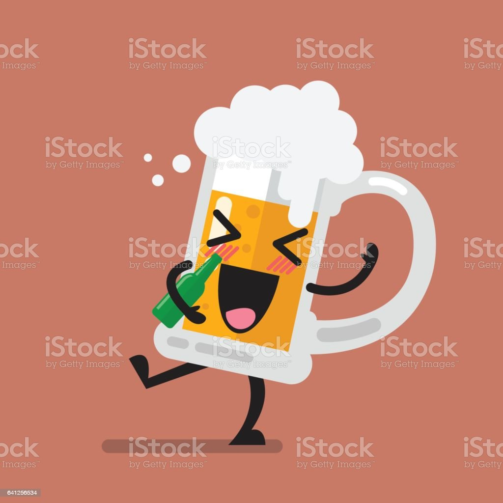 Funny drunk beer glass character vector art illustration