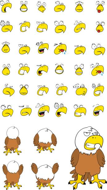 funny eagle cartoon expressions set - eagle character stock illustrations, clip art, cartoons, & icons