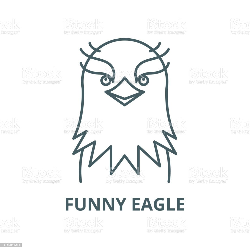 Funny Eagle Vector Line Icon Linear Concept Outline Sign