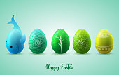 Funny Easter eggs on green sunny background