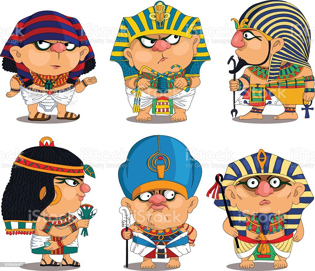Funny Egyptian Pharaohs vector art illustration