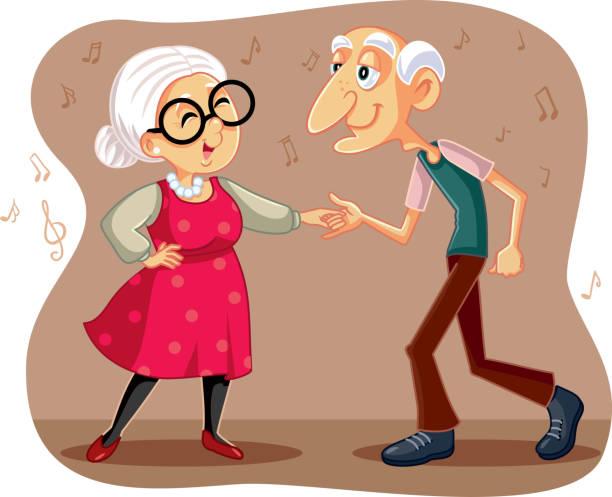 funny  elderly couple dancing vector cartoon - old man funny cartoon stock illustrations, clip art, cartoons, & icons