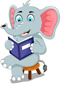 funny elephant cartoon sitting with reading book