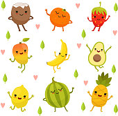 Funny emotion on cartoon fruits and vegetables. Vector illustration set. Food with face, vegetable cartoon smile happy