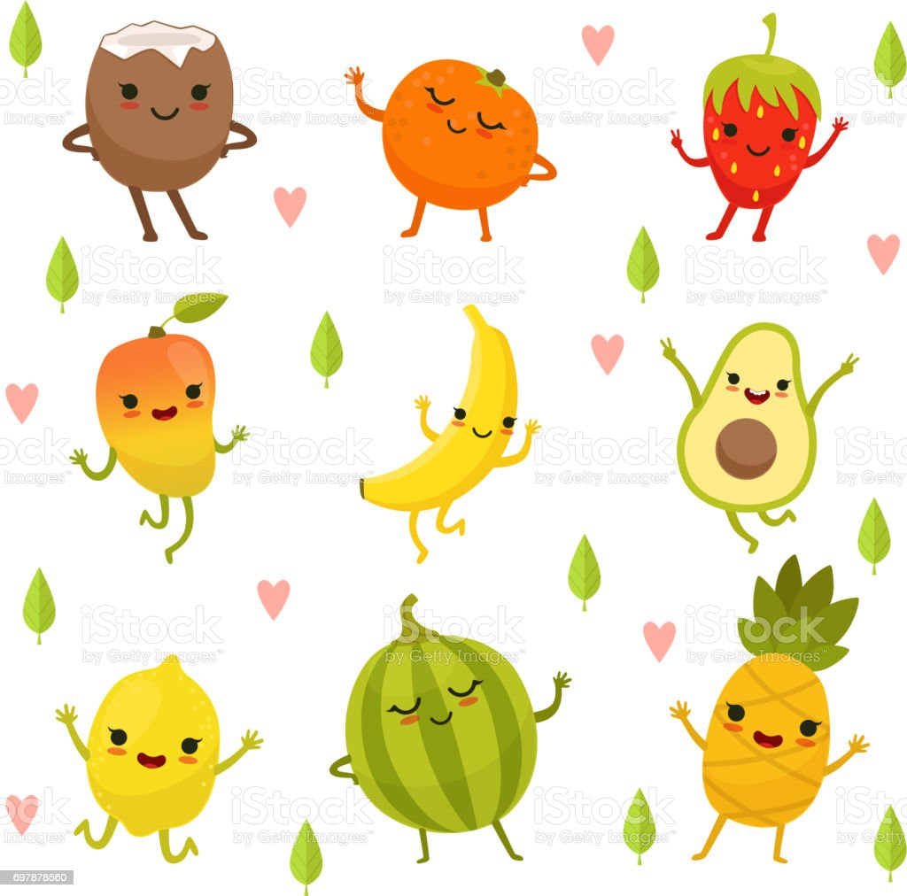 Funny emotion on cartoon fruits and vegetables. Vector illustration set vector art illustration