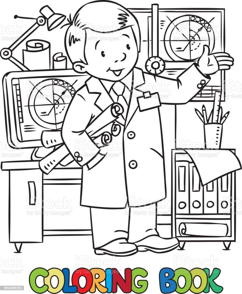Ilustración De Dibujos Animados Blanco Y Negro De Ingeniero