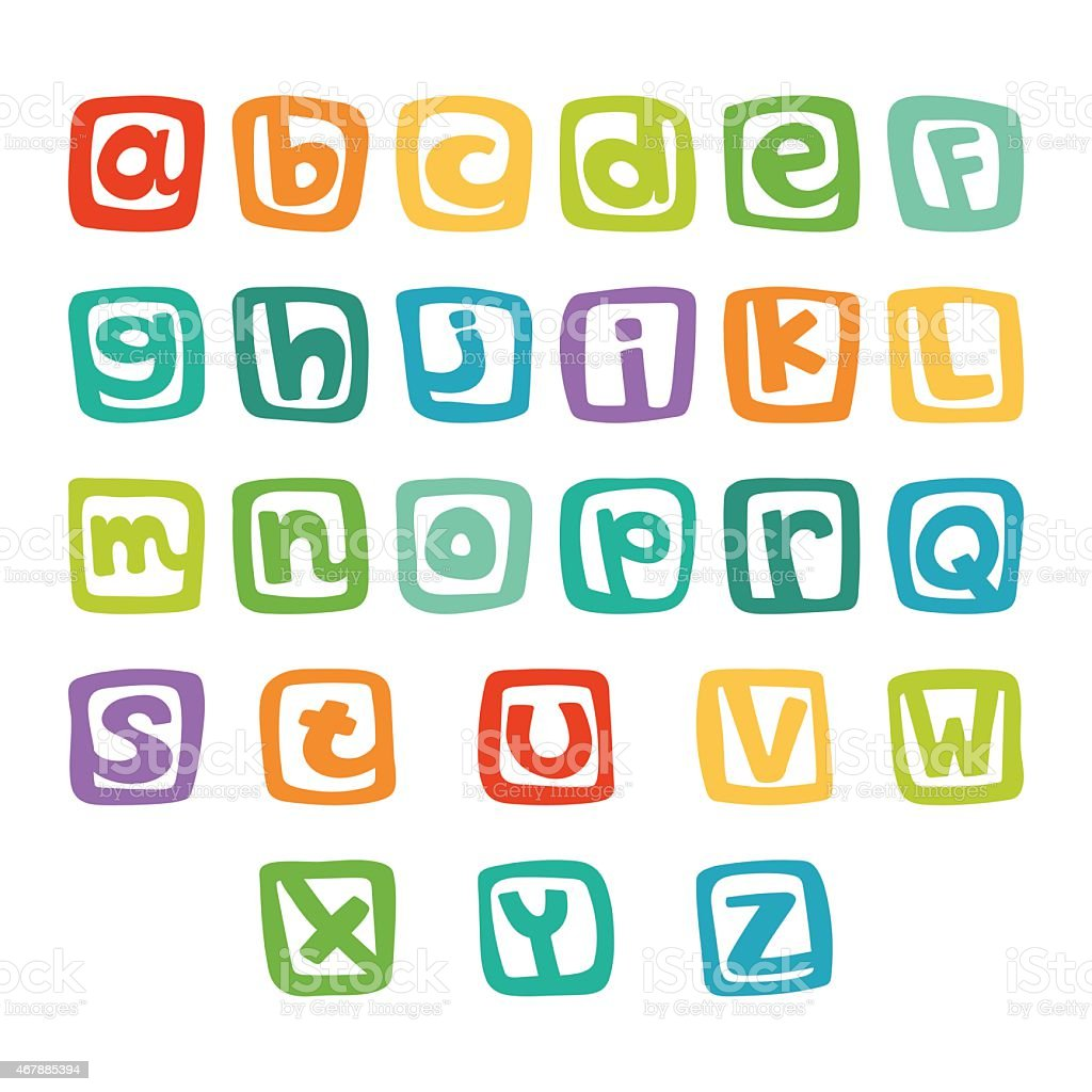 Funny english alphabet, hand drawn alphabet in colorful squares