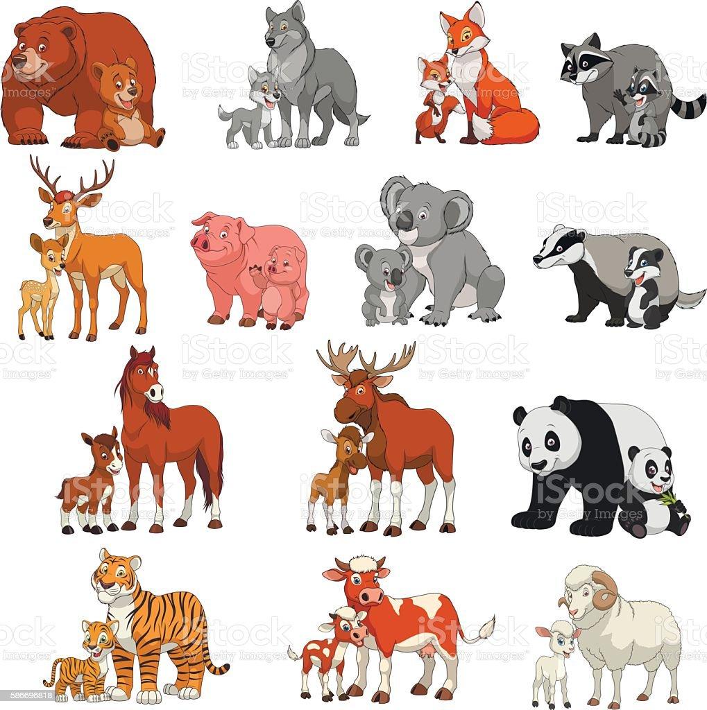 Funny exotic animals vector art illustration