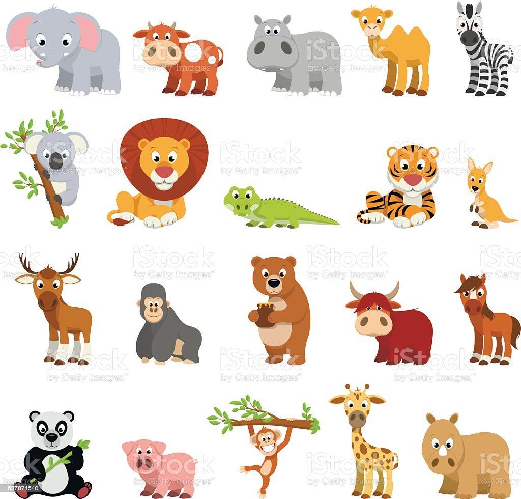 Drôle d'animaux exotiques - Illustration vectorielle