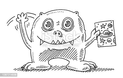 istock Funny Extraterrestrial Creature Drawing 1287214536