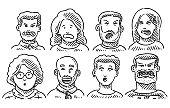 Hand-drawn vector drawing of Funny Faces in Different Emotions. Black-and-White sketch on a transparent background (.eps-file). Included files are EPS (v10) and Hi-Res JPG.