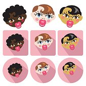 A set of Funny faces of new born baby girls.Asian, europian,mulatto baby girl.Cute cartoon collection with icons.Baby vector