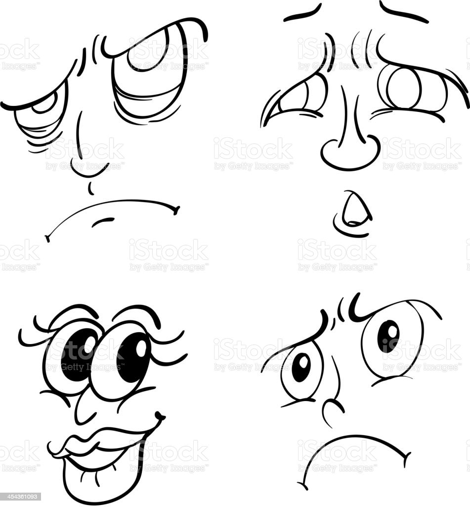 Funny Faces Stock Vector Art More Images Of Collection 454361093