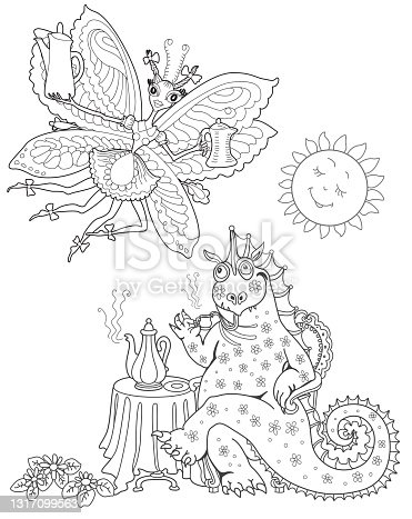 Funny fairy tale dragon drinking coffee and fantasy butterfly pixie women with coffee pot. Linear black and white doodle sketch. Adults coloring book page, poster, café menu book cover