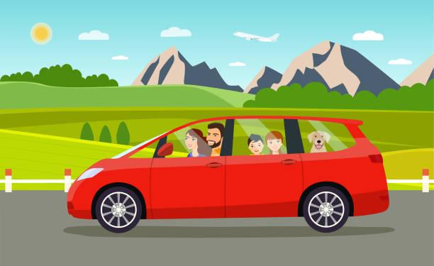bildbanksillustrationer, clip art samt tecknat material och ikoner med rolig familje körning i minibuss på helg semester. sommar landskap. vektor platt stil illustration - kör