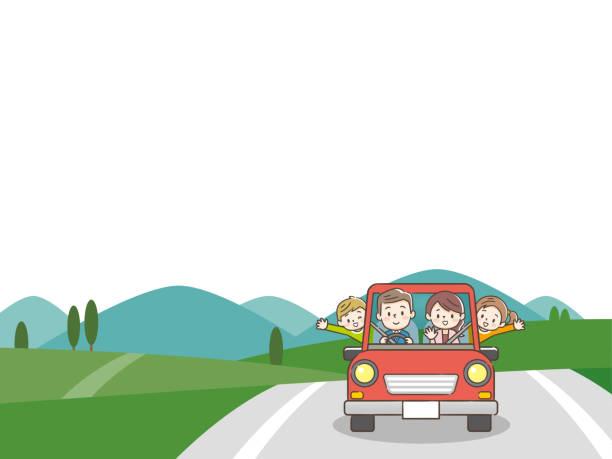 週末の休日に赤い車で運転面白い家族。 - 家族 日本点のイラスト素材/クリップアート素材/マンガ素材/アイコン素材