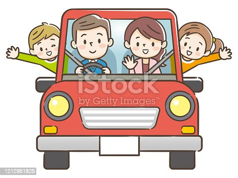 istock Funny family driving in red car on weekend holiday. 1212951825
