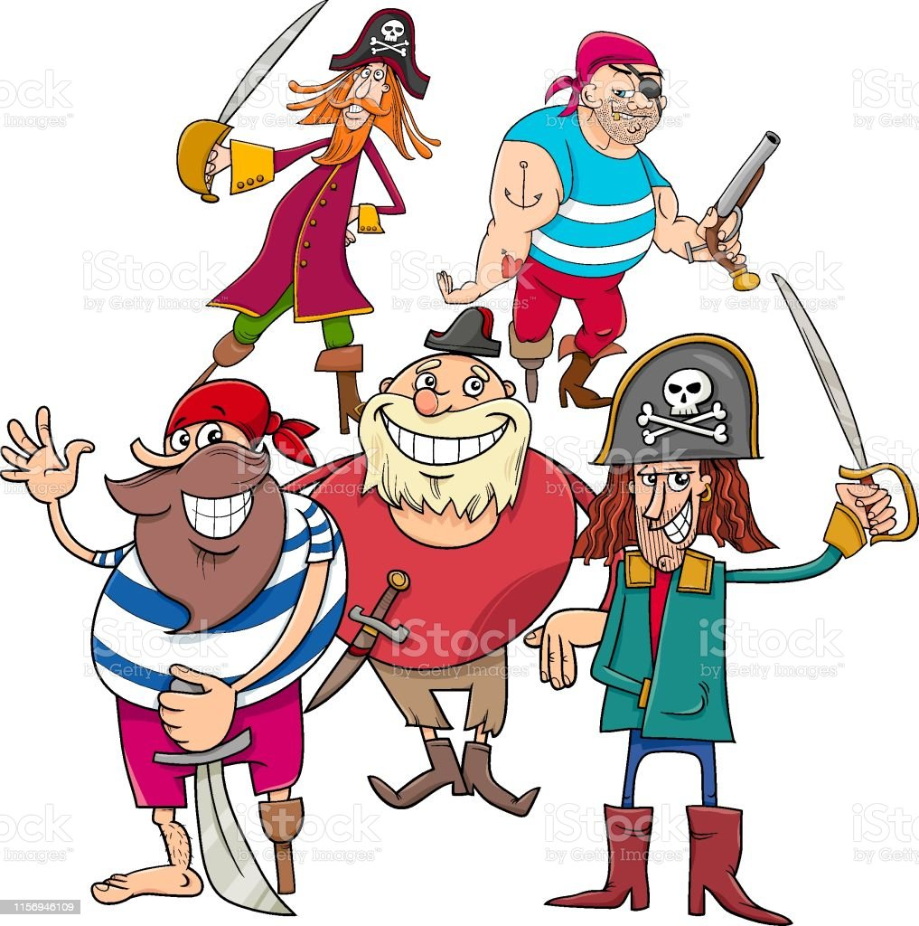 Funny Fantasy Pirate Cartoon Charactersb Group Stock