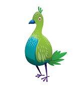 Funny fantasy tropical green-blue bird