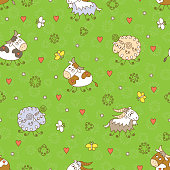 Funny Farm animals seamless pattern. Kids background.