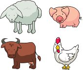 Funny farm animals set. Each animal on separate layer.