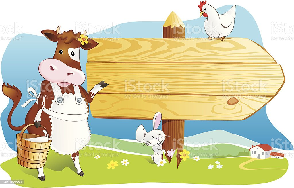 Funny farm animals, wooden signboard, copy space royalty-free funny farm animals wooden signboard copy space stock vector art & more images of agriculture
