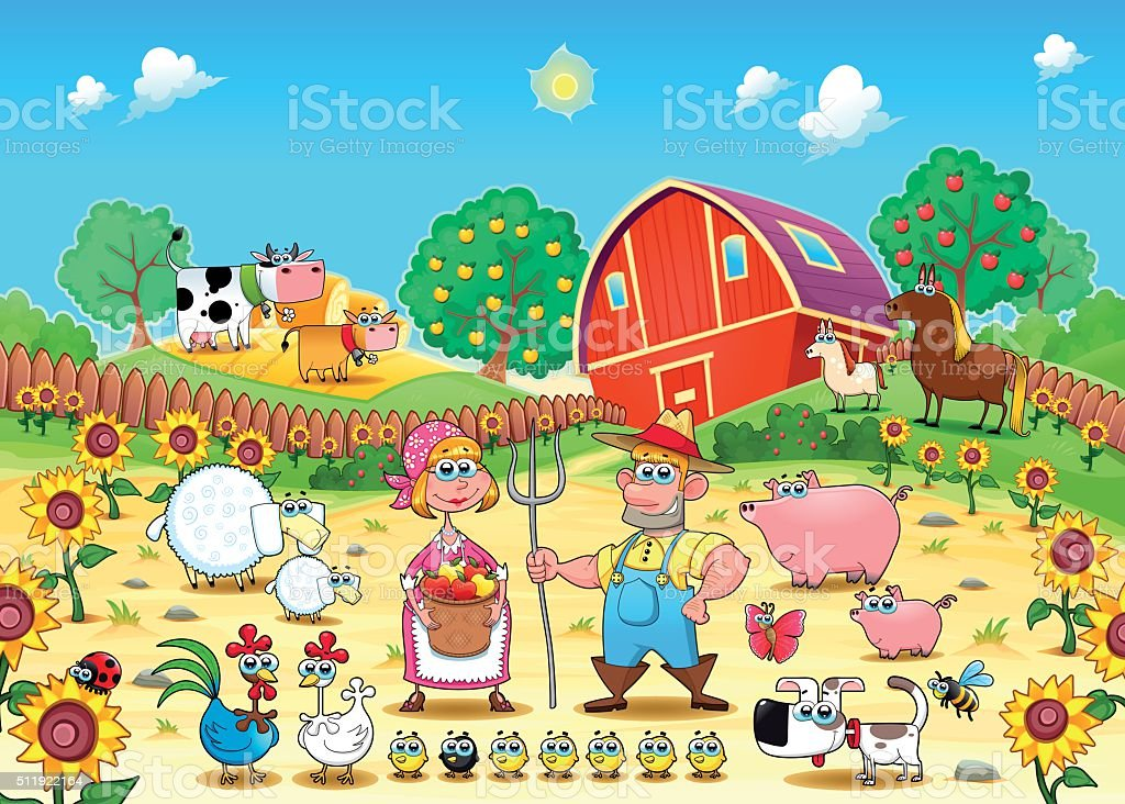 Cena de fazenda engra ada com os animais e agricultores for Foto di fattoria moderna