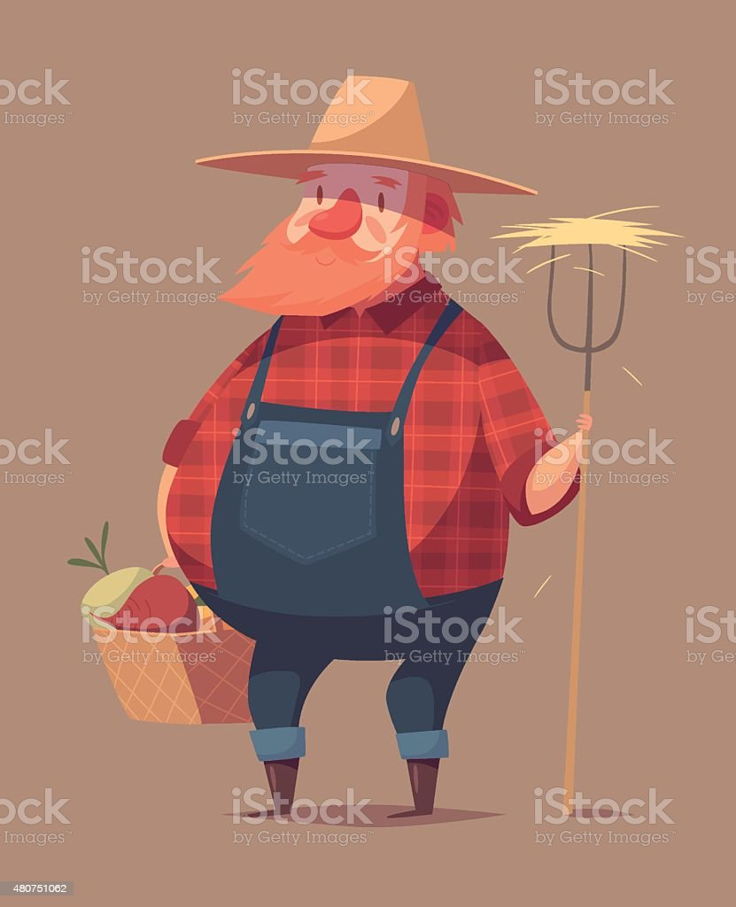 Funny farmer character vector art illustration