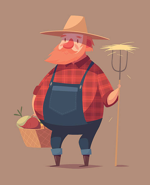 Lustiger farmer Charakter – Vektorgrafik