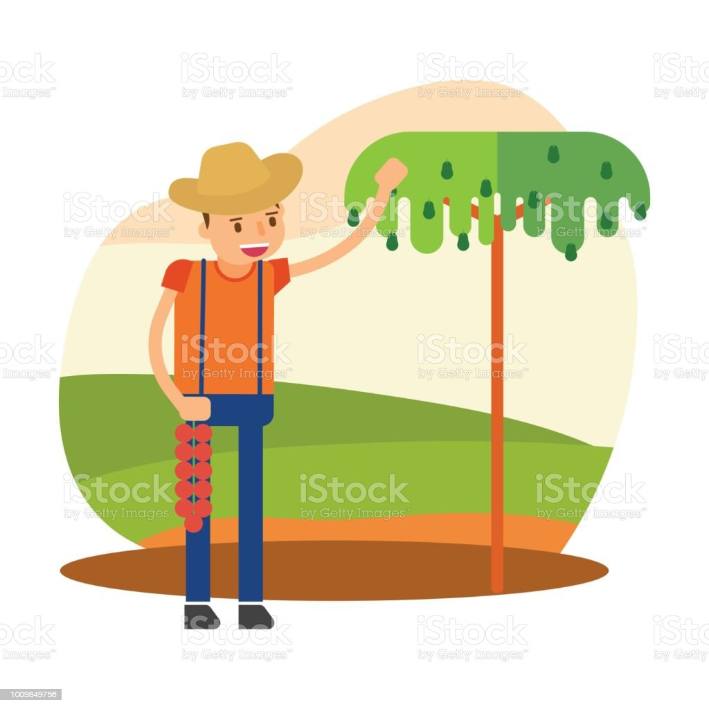 funny farmer is farming and growing avocado tree in his field, cartoon character vector art illustration