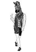 Funny fashion zebra (black and white)