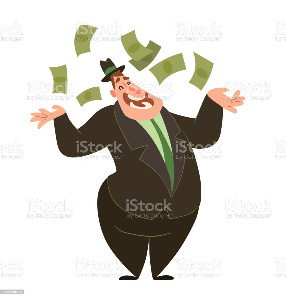 Funny fat capitalist throwing money vector art illustration