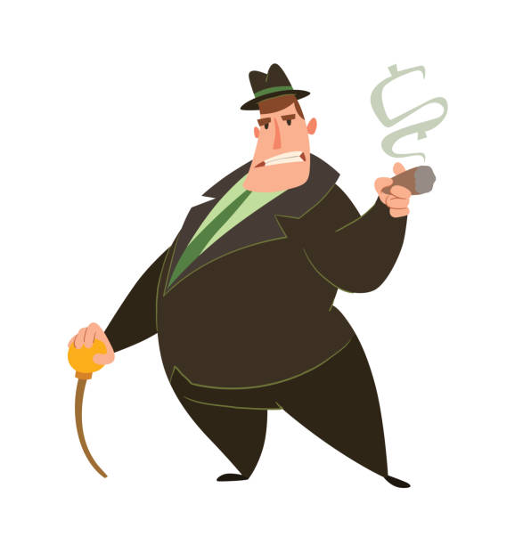 stockillustraties, clipart, cartoons en iconen met grappige vet kapitalist met een stok - guy with cigar
