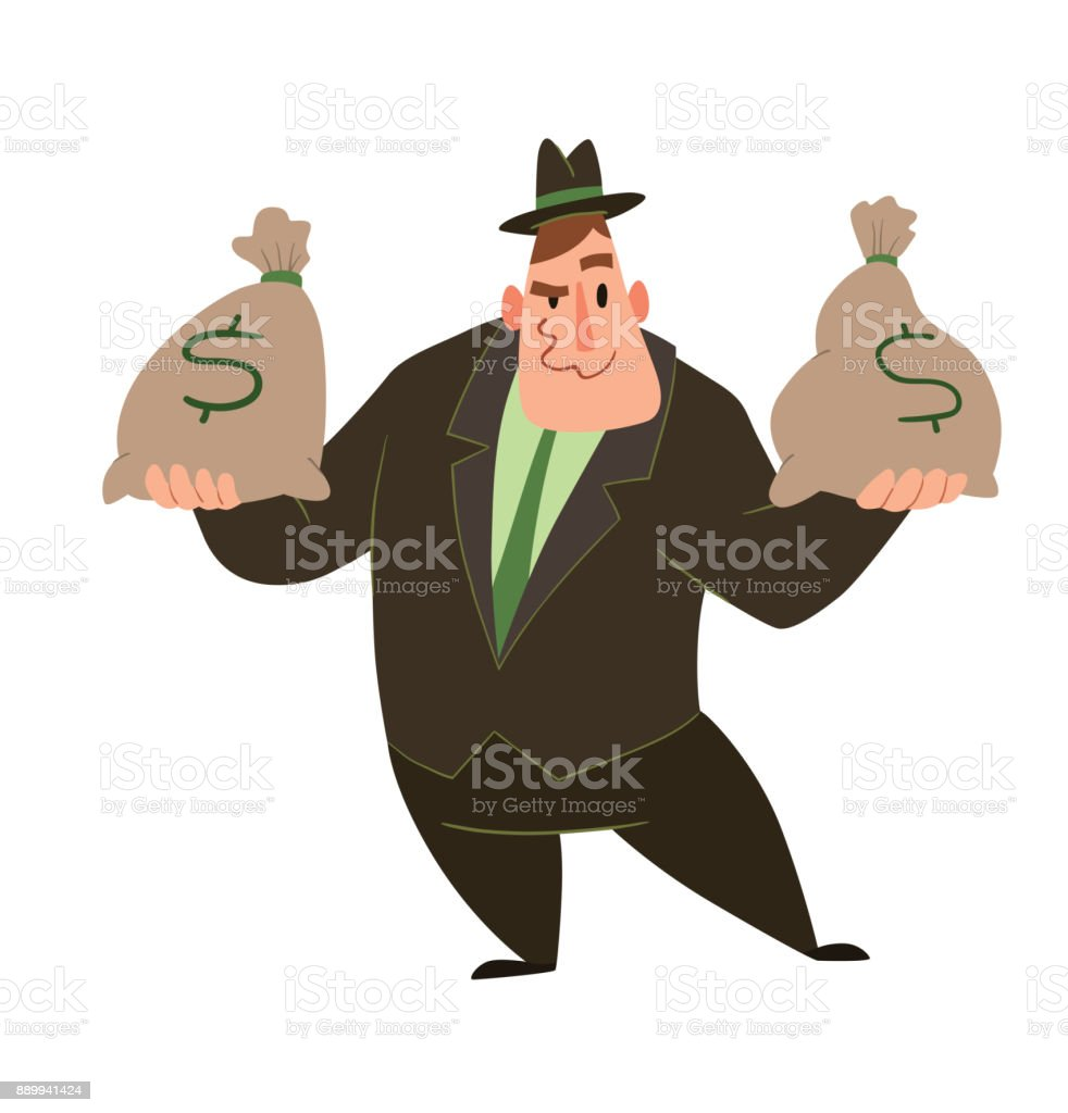 Funny fat capitalist with bags of money vector art illustration