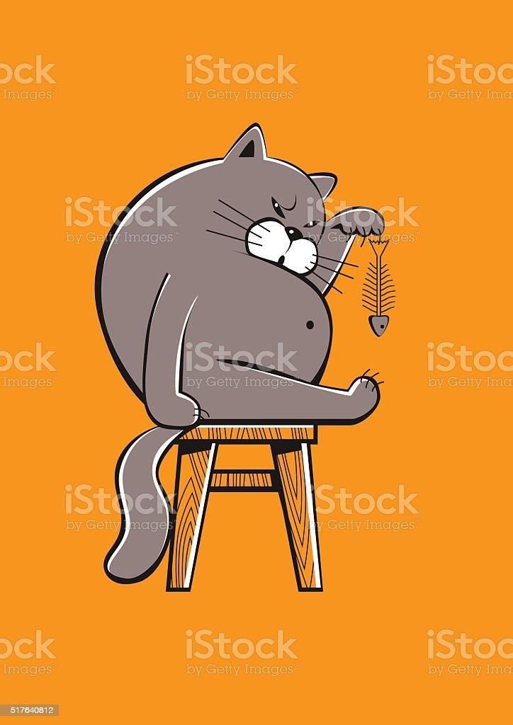 Funny fat cat vector vector art illustration