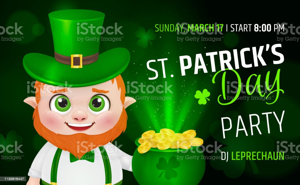 Funny Fat Leprechaun With Beer In His Hand Happy St Patricks Day