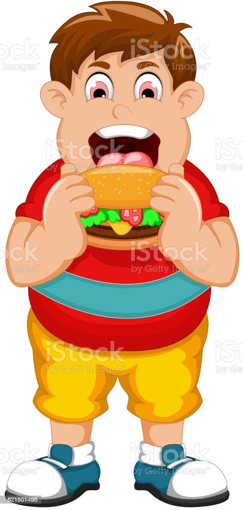 funny fat man cartoon eating burger funny fat man cartoon eating burger – cliparts vectoriels et plus d'images de enfant libre de droits