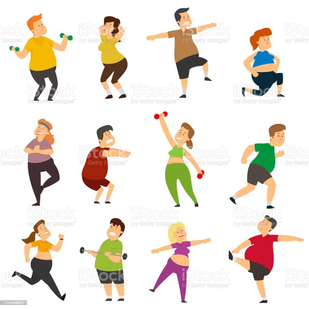 面白い太った人たちがスポーツをしている アイコンセットのベクター