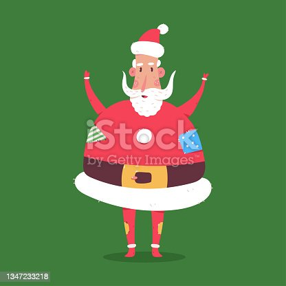istock Funny fat Santa Claus character vector cartoon illustration isolated on background. 1347233218