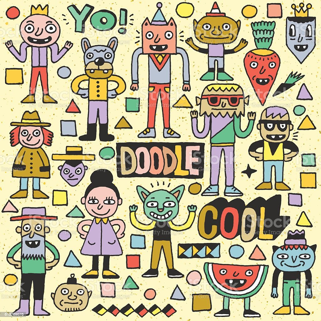 Funny Fictitious Doodle Characters Set 3. vector art illustration