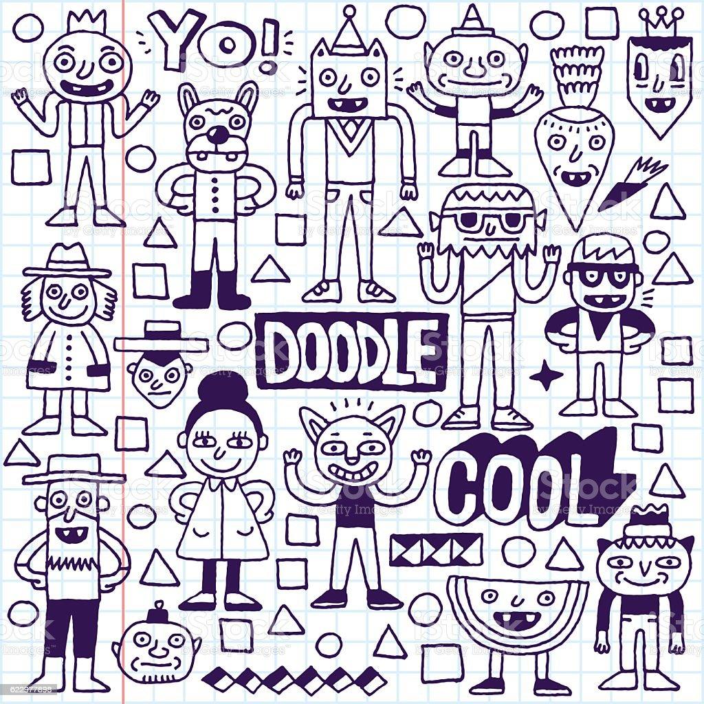Funny Fictitious Doodle Characters Set 3 Lizenzfreies Stock Vektor