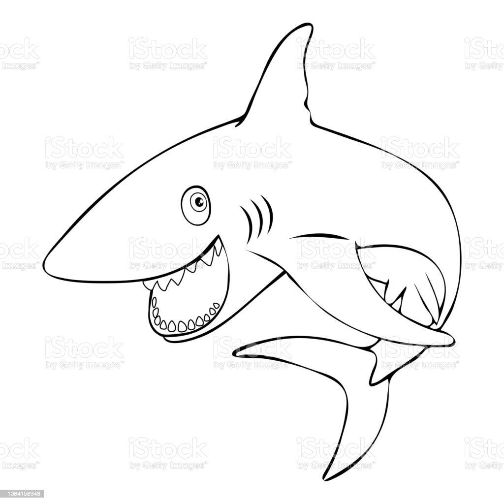 Ilustración De Tiburones Pez Gracioso Sonriente Saltos Fuera