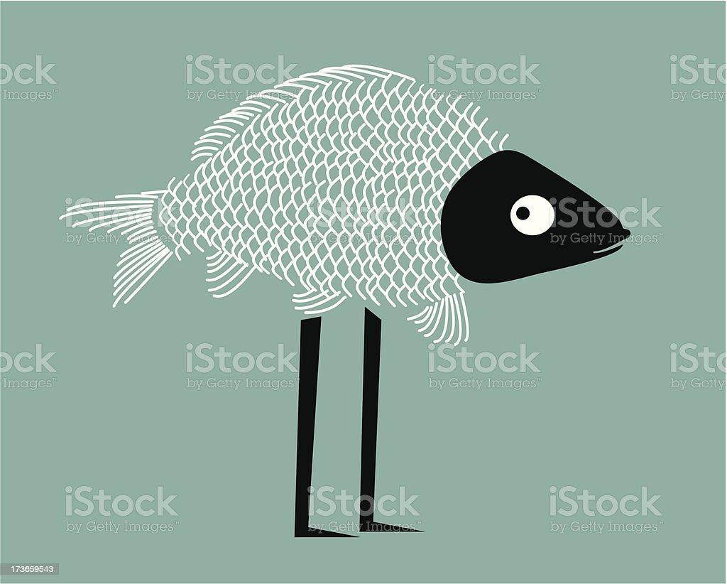 Funny fish vector art illustration